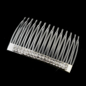 Jana Silver Double Row Rhinestone Plastic Wedding Bridal Special Occasion Comb