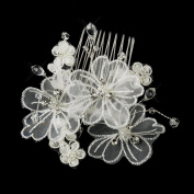 Fabiola Silver Crystal Organza Flower Hair Side Wedding Bridal Occasion Comb