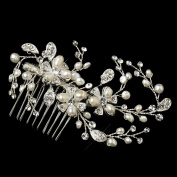 Nadine Freshwater Pearl & Rhinestone Floral Hair Comb Wedding Bridal Special Occasion