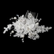Julia. Crystal Bead & Diamond White Pearl Fabric Flower Hair Comb Wedding Bridal Special Occasion