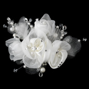 Laura Diamond White Pearl. Crystal Bead, Rhinestone & Chiffon Satin Mesh Sheer Organza Fabric Flower Hair Comb Wedding Bridal Special Occasion