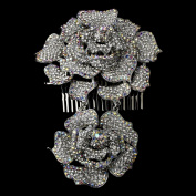 Carolina Antique Silver & AB Crystal Flower Hair Side Wedding Bridal Occasion Comb