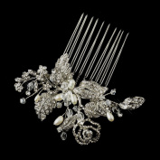 Ginette Antique Freshwater Pearl. Crystal & Rhinestone Flower and Leaf Hair Comb Wedding Bridal Special Occasion