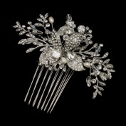 Jeanette Antique Freshwater Pearl. Crystal & Rhinestone Flower and Leaf Hair Comb Wedding Bridal Special Occasion
