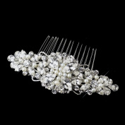 Sophia Antique Rhodium Rhinestone & Ivory Pearl Floral Wedding Bridal Special Occasion Comb