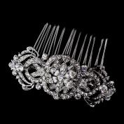 Emerald Antique Silver Crystal Hair Side Wedding Bridal Occasion Comb