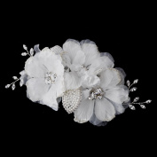 Zenaida Ivory Rhinestone Flower Hair Side Wedding Bridal Occasion Comb