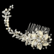 Alina Silver Freshwater Pearl Rhinestone Floral Vine Hair Comb Wedding Bridal Special Occasion Comb