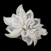 Roxanna Ivory Pearl, Rhinestone, Crystal, Sequin, and Bugle Bead Flora Wedding Bridal Occasion Comb