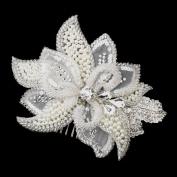 Roxanna Ivory Pearl, Rhinestone, Crystal, Sequin, and Bugle Bead Flora Wedding Bridal Occasion Comb