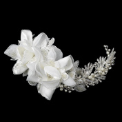 Donna Ivory Pearl, Rhinestone & Bugle Bead Accent Wedding Bridal Special Occasion Comb