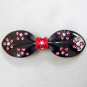 Rhinestone Bow Hair Clip Barrette, Black/Red/Pink, BAR-3032