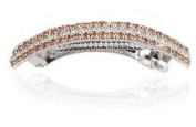 Dual Colour Rhinestone Row Horsetail Hair Barrette in Silver Tone