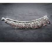 ROSE MULTI Rhinestone Rhodium-plated Barrette Clips, 10cm x 1.9cm , BAR-3009B
