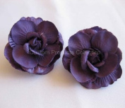 Purple Rose Wedding Birde Hair Flower Clip Barrette- One Pair
