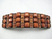 Brown Sparkly Rectangle Curved Barrette Hair Clip 9.2cm long Faceted Crystal Beads
