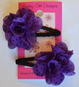 Funny Girl-Set of 2 Chiffon Flower No Slip Snap Hair Clips