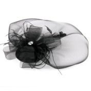 Black Feather Veil Hair Clip Mini Top Hat Party Cosplay