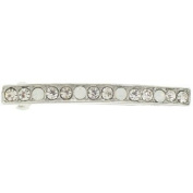 Karina - French Couture Crystal Line Barrette - White/Silver/Moonstone #K10327X1