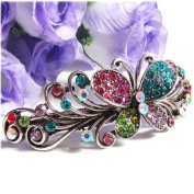 New Multi-colour Crystal Silver Tone Metal Butterfly hair claws clips Barrette 21