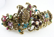 New multi-colour Rhinstones Crystal Silver Tone Metal butterfly flower hair claws clips Barrette