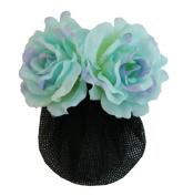 Silk Rose Flower Barrette Hair Clip with Snood Net Hair Bun