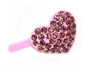 DoubleAccent Hair Jewellery Mini Heart shape Barrette Pink Colour