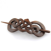 Evolatree - Hand Carved Sono Wood Celtic Snake Hair Pin Barrette - 10cm