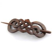 Evolatree - Hand Carved Sono Wood Celtic Snake Hair Pin Barrette - 10cm
