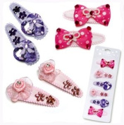 Pecoware Girls Fancy Pink and Purple Hair Barrettes