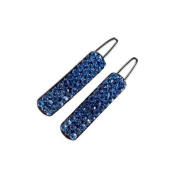 DoubleAccent Hair Jewellery Simple Crystal Covered Rectangle Barrettes (Pair) Blue Colour