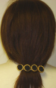 Four Gold Plated Buttons with Braid Centre on French Barrette Hair Clip for Women and Teens