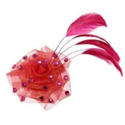 Tarina Tarantino - Fashion Couture - Iconic Collection - Organza Rose Anywhere Clip w/Crystals & Feather - Fuchsia #AC03S9-108