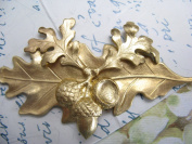 Bridal Hair Barrette Acorn and Leaf Artisan Crafted Hair Clips Hair Jewellery