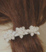 Set of Three Silver Plated Flowers with Crystals Rhinestone on French Barrette Hair Clip