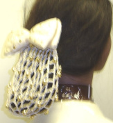 Sn61, Hand Crocheted Ivory Gimp Dress Snood with Gold Studded Bow for Women and Teens