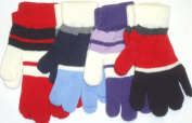 Set of Four Pairs of Multicolor Stripped Magic Gloves for Children Ages 5-14 Years