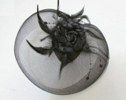 Elegant Cocktail Fascinator Headband Black --- By Pixiheart