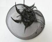 Elegant Cocktail Fascinator Headband Black --- By Pixiheart