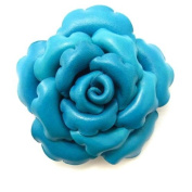 Precious Blue Rose Leather 5.1cm 1 Floral Pin or Hairclip