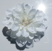 Bridal White Dahlia Flower Hair Clip, Wedding Accessory