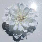 Bridal White Dahlia Flower Hair Clip, Wedding Accessory