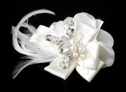 Silver Feather Ribbon Bridal Hair Clip in White or Ivory