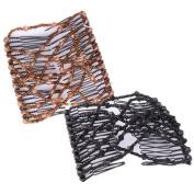 WAWO 2 PCS Combs Stretchable Double Combs -Sahara Sandalwood and Classic Bermuda Black Combo