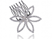 Bridal Jewellery Silvertone Crystal Rhinestone Flower Fashion Head Piece Hair Comb