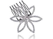 Bridal Jewellery Silvertone Crystal Rhinestone Flower Fashion Head Piece Hair Comb