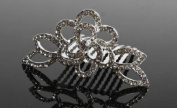 Rhinestone Silver Flower Hair Comb with a Vintage Look for Wedding, Prom or Special Occasion