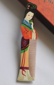 "Wood Comb, Beautiful Fashion Stylish Multi Colour Beauty (Name "" Gui Fei "") Hand Craft, Master Hand Painted Boxwood Hair Comb, or Home Decoration and Artist Collection"