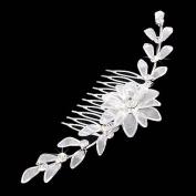 Bridal Wedding Jewellery Crystal Rhinestone Mesh Floral Linear SH Drape Hair Comb Pin