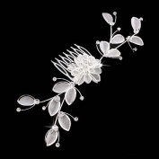 Bridal Wedding Jewellery Crystal Rhinestone Mesh Floral Leaf Drape Hair Comb Pin